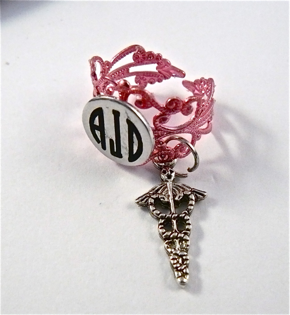 Pink Lace ID ring cuff/caduceus