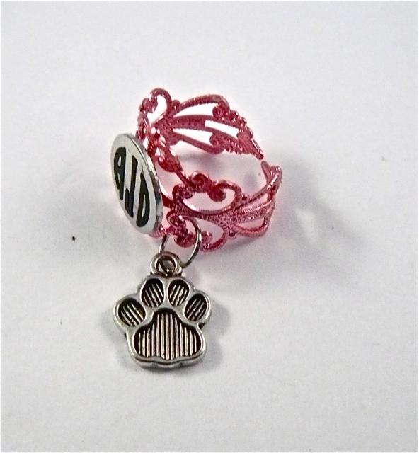 Pink Lace ID ring cuff/dog paw