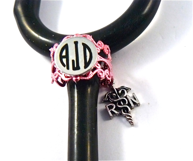 Pink Lace ID ring cuff RN caduceus