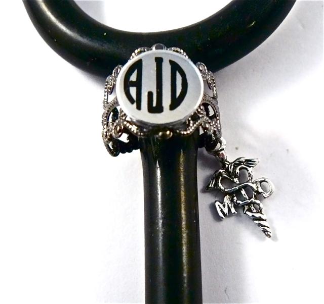 Gunmetal Lace ID ring cuff MD caduceus