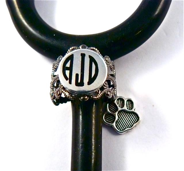 Gunmetal Lace ID ring cuff dog paw