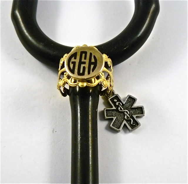 Gold Brass Lace ID stethoscope cuff star of life