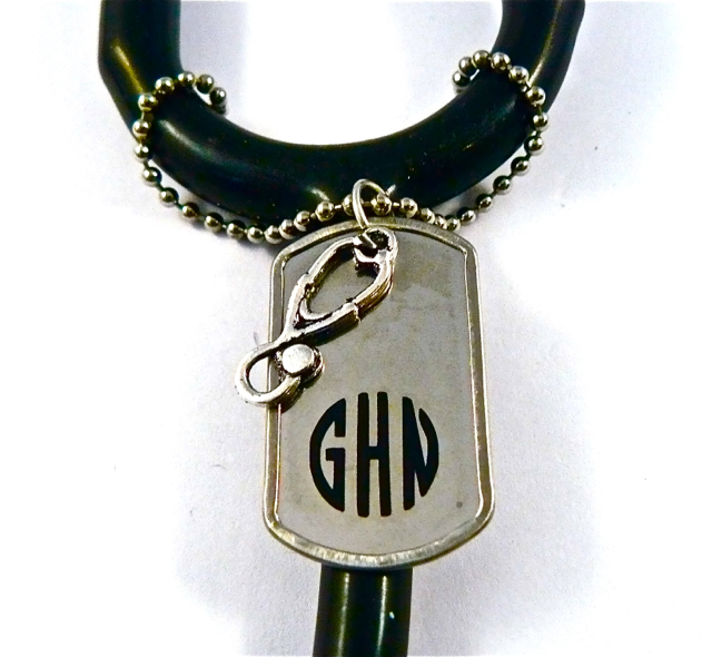 Mini Dog tag ID. stethoscope charm, monogram