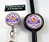 Purple chevron bling set