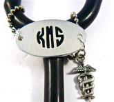 monogram CADUCEUS  ID stethoscope tag